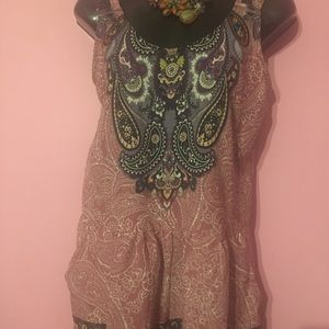 Small Xhiliration Romper Pink Floral zips in back